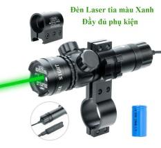 Đèn Laze Sịn Cao Cấp Ánh Tia màu XANH – điều chỉnh tâm Trái, Phải – Phụ Kiện Đầy Đủ Kẹp Ray Kẹp Cành, ký hiệu 803 + Kèm Bộ Sạc Pin lz