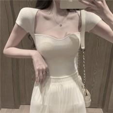 Áo len mỏng cổ vuông phong cách sexy quyến rũ