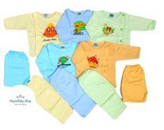 Set 5 bộ quần áo sơ sinh dài tay màu, cúc lệch cho bé từ sơ sinh đến 11,5kg