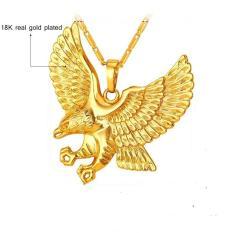 Dây Chuyền, Vòng Cổ (Dẹt) 18 k Mạ Vàng Thật – Kèm mặt Đại Bàng Trang Sức Phong Cách Hảo Hán (Vàng)