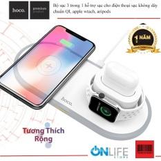 Đế sạc không dây đa năng 3in1 Hoco CW21 max 10W dành cho điện thoại / đồng hồ thông minh / tai nghe bluetooth đôi – Hãng phân phối chính thức