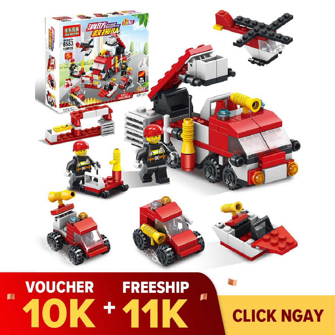 Đồ chơi trẻ em lego lắp ráp xếp hình cho bé 6 tuổi Biệt Đội Team 6in1 Lele Brother 8553,8552,8520,8525 (ngẫu nhiên)