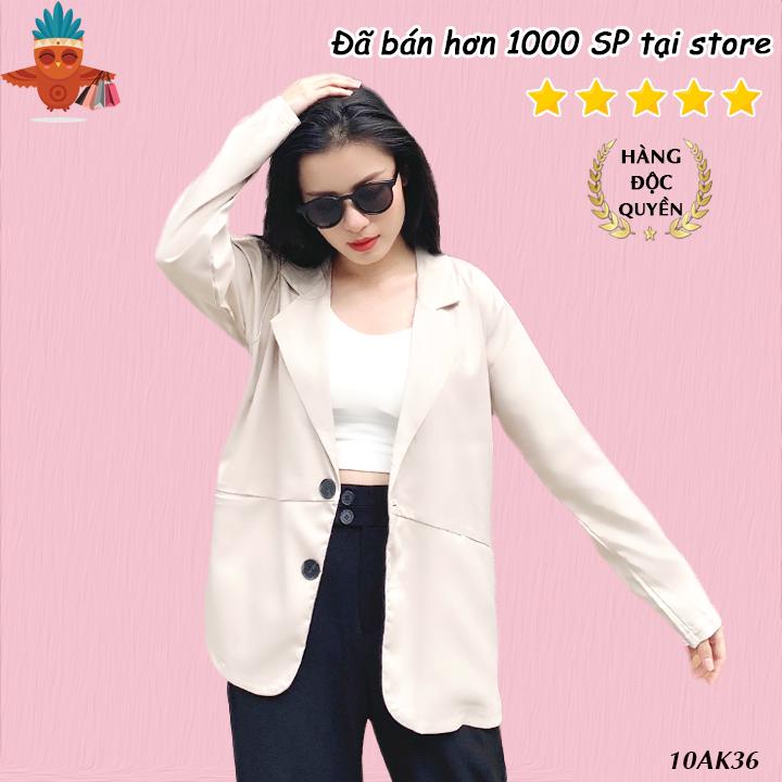 Áo blazer túi xéo style Hàn Quốc THOCA HOUSE đen, trắng, kem, hồng, cà phê freesize cho cả đi làm, đi chơi sành điệu