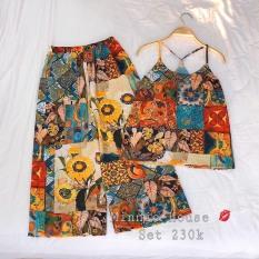 sét bộ áo CỔ YẾM lụa thái mịn họa tiết thổ cẩm hàng nhập QCCC