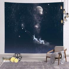 Vải treo tường trang trí Mẫu Tuần Lộc Ngân Hà, Thảm Decor phòng khách phòng ngủ đẹp