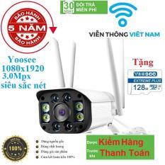 [CÓ MẦU BAN ĐÊM TẶNG THẺ NHỚ 128GB] camera wifi 3.0 ngoài trời – trong nhà camera yoosee 4 Râu 3.0 Mpx full hd 1080p – hỗ trợ 4 đèn hồng ngoại và 4 đèn LED + kèm thẻ nhớ 64GB – NEW