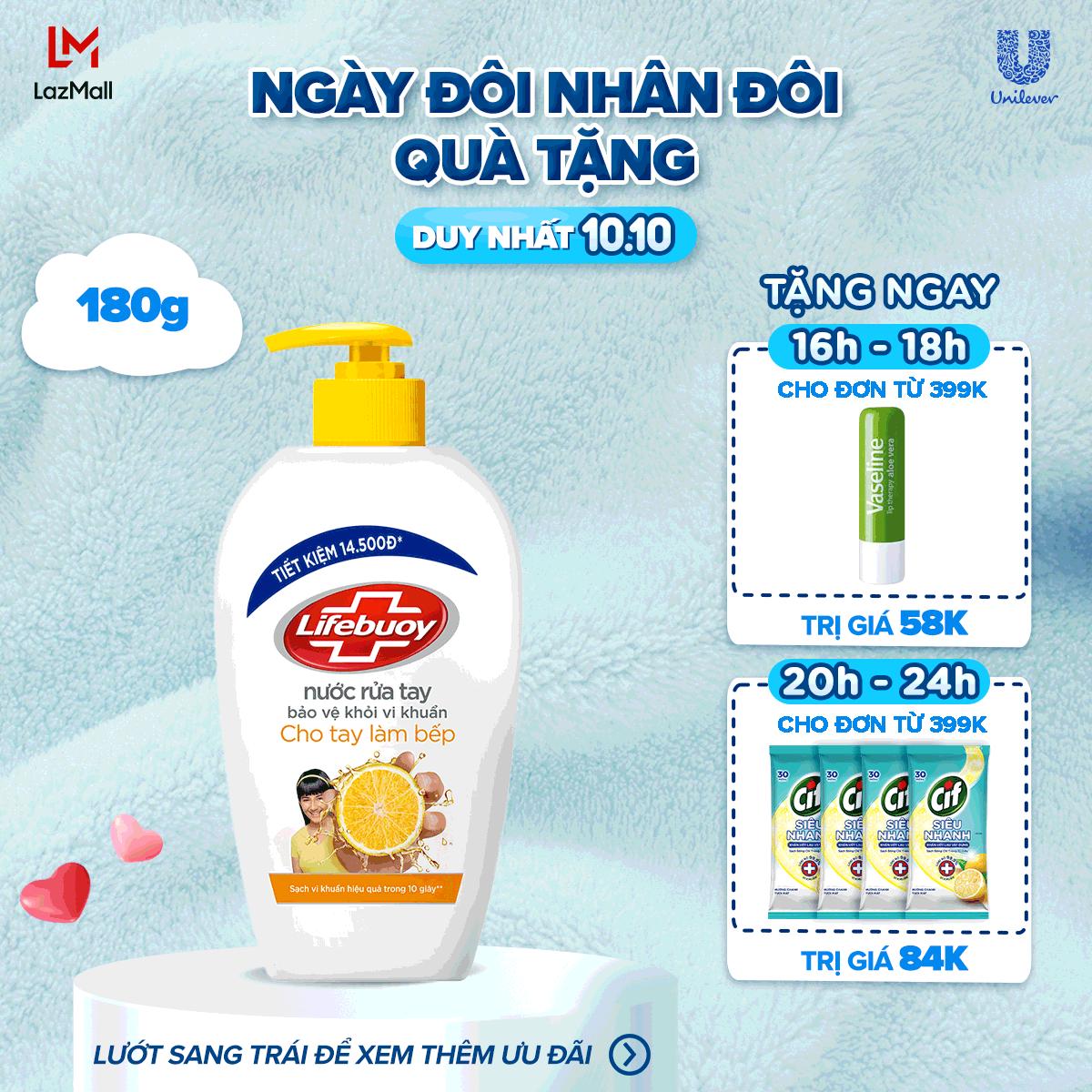 Nước rửa tay Lifebuoy 180g Chanh khử mùi và giúp bảo vệ khỏi 99.9% vi khuẩn trên tay