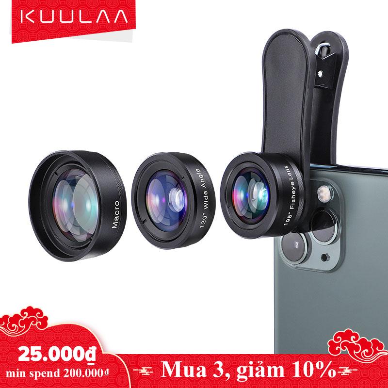 KUULAA Ống kính 4K Camera điện thoại di động Bộ ống kính 3 trong 1 Ống kính góc rộng Macro...