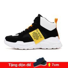 Giày thể thao nam cao cổ tăng 7 chiều cao phong cách Ulzzangboy, với 2 màu đế trắng và đế đen cá tính New