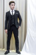 ( Combo ) Bộ vest nam 1 nút và gile ôm body màu đen