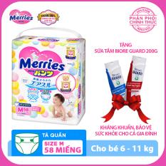 (Hỗ trợ vận chuyển) Tã/bỉm quần Merries size M – 58 miếng (Cho bé 6 – 11kg)