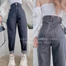 Quần baggy jeans 2 cúc nắp túi cạp cao siêu cao dáng dài chất đẹp