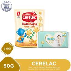Mua 2 Gói bánh ăn dặm dinh dưỡng Nestlé CERELAC Nutripuffs vị Chuối Cam – 50g Tặng 1 gói tã Pampers 4 miếng size M và Voucher 50K cho đơn hàng mua tã 499K