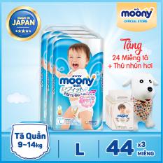 [TẶNG thú nhún + 24m Natural] Bộ 3 tã/bỉm quần bé trai cao cấp Moony L – 44 miếng (9-14kg)