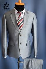 [HCM]Bộ vest nam trung niên màu xám sáng chất liệu vải dày mịn sọc gân nhẹ