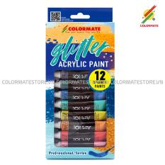 Hộp Giấy 12 Tuýp Glitter Acrylic Paint