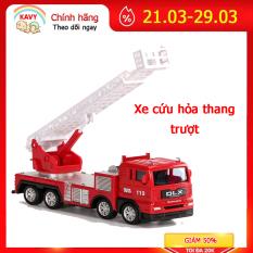 Đồ chơi cho bé mô hình xe cứu hỏa thang trượt, hợp kim sắt và nhựa an toàn, chi tiết sắc sảo, khớp chuyển động -KAVY