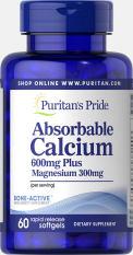 Sales 65% – Viên uống canxi nang mềm (30/09/2021) dễ hấp thu ngừa loãng xương không kích ứng dạ dày – Absorbable Calcium magnesium Puritan's Pride 60 viên