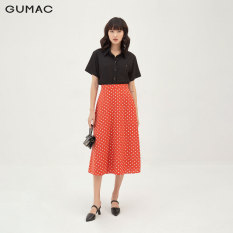 Chân váy nữ dáng chữ A xòe nhẹ thiết kế phối chấm bi thời trang GUMAC mẫu mới VB3127