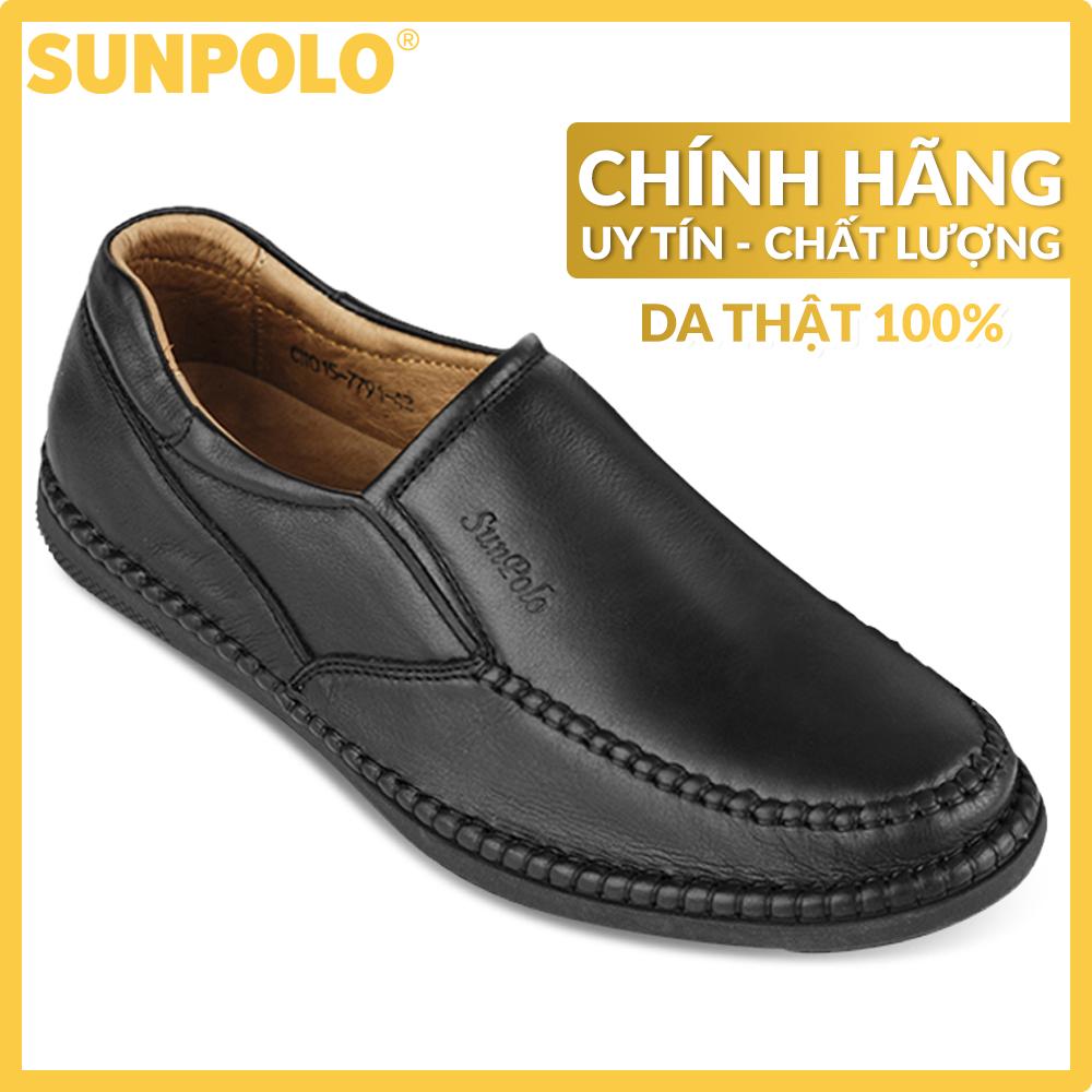 Giày Mọi Nam Da Bò Cao Cấp SUNPOLO SU015DN Có Size 45, 46 (Đen, Nâu)