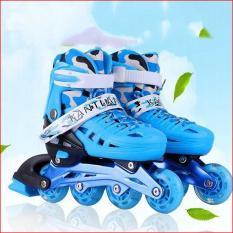 Dạy trượt patin cơ bản, Mua giay batin, Giày Patin trẻ em tặng mũ và đồ bảo hộ (5 đến 14 tuổi) với bánh xe có tính đàn hồi cao, chống trầy xước, chống xé rách, chịu mài mòn va đập tốt – BẢO HÀNH UY TÍN