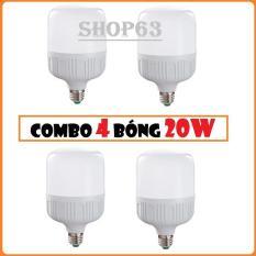 Combo 4 bóng đèn 20W trụ tròn ánh sáng trắng – siêu sáng tiết kiệm điện tối ưu (bảo hành 12 tháng)