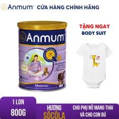 Sữa bột Anmum Materna hương Sô-cô-la 800g Tặng body suit