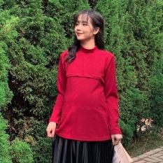 Áo len tăm giữ nhiệt có khóa kéo cho bầu mặc trong và sau sinh – Áo giữ nhiệt len tăm thiết kế Medyla – AGN002