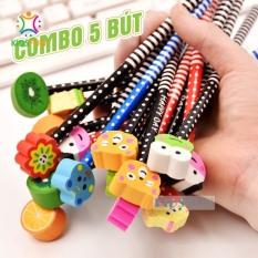 COMBO 5 BÚT chì kèm tẩy họa tiết hoạt hình ( hoa, quả, kẹo ngọt, động vật, hoa, lá ) ngộ nghĩnh dễ thương cho bé học vẽ, học viết