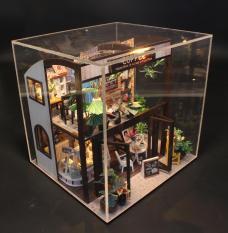 Mô hình nhà DIY Doll House Coffee House Kèm Đèn LED và Mica chống bụi