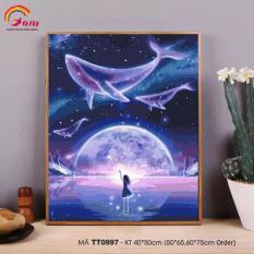 Tranh tự tô màu theo số sơn dầu số hóa Gam trừu tượng cá voi xanh TT0997