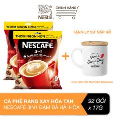 [Tặng ly sứ nắp gỗ] Combo 2 bịch cà phê rang xay hòa tan Nescafé 3 in 1 đậm đà hài hòa (Bịch 46 gói x 17g)