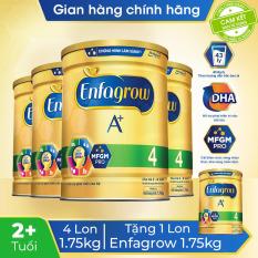 [GIẢM NGAY 5% KHI THANH TOÁN + FREESHIP HỎA TỐC] Bộ 4 lon sữa bột Enfagrow 4 cho trẻ trên 2 tuổi 1.75kg – Tặng 1 lon sữa bột Enfagrow 4 1.75kg – Cam kết hạn sử dụng còn ít nhất 10 tháng