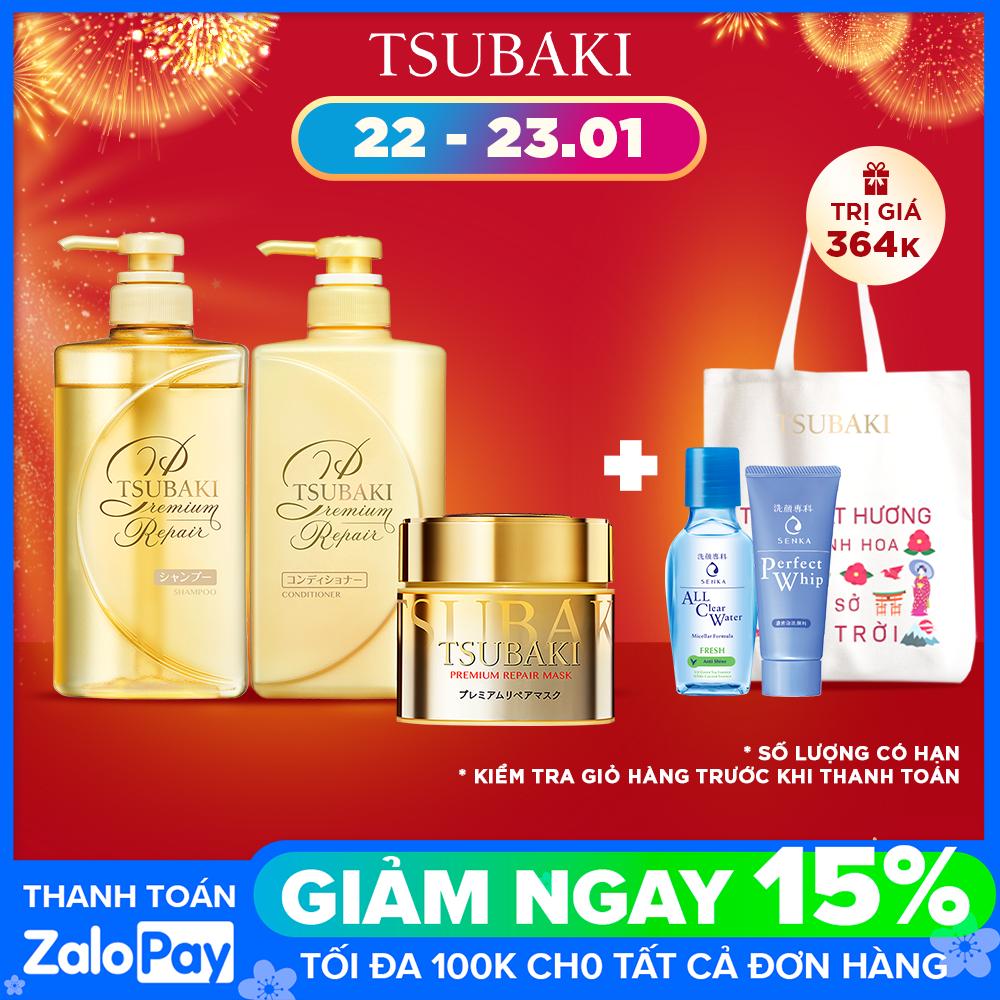 [TẶNG SỮA DƯỠNG TÓC] Bộ gội xả Tsubaki phục hồi ngăn rụng tóc và mặt nạ tóc cao cấp phục hồi hư tổn