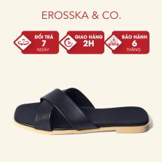 Dép đi biển thời trang Erosska 2021 thời trang mũi vuông thiết kế phối dây quai chéo màu đen – DE029