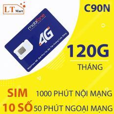 Sim 4G Mobifone C90N -120GB/tháng và 1.000 phút miễn phí nội mạng/tháng+ 50 phút ngoại mạng/tháng chỉ với 90k/tháng,.Sử dụng toàn quốc