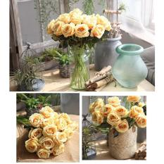 Combo 5 bông hoa hồng size to hoa giả nhân tạo không kèm lọ hoa