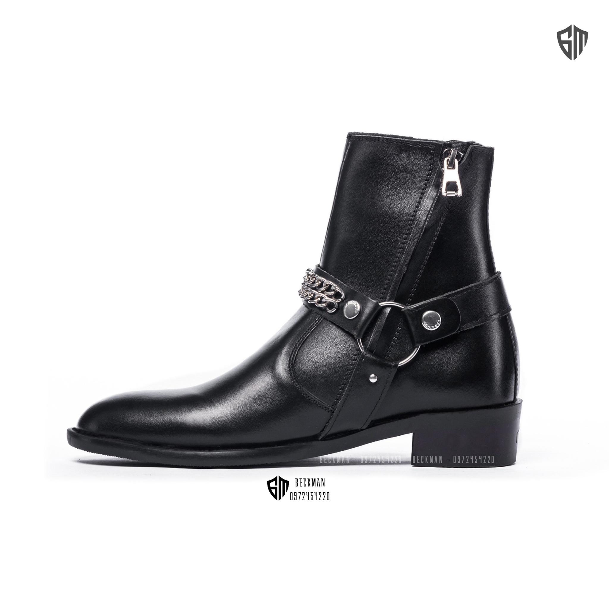 Giày nam Harness Boots Da Bò Đế Cao Su BẢO HÀNH 12 THÁNG (Tặng Lót Đế)