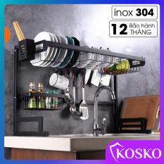 Kệ chén đa năng inox sơn phủ tĩnh điện, kệ bếp rộng 85cm Kosko để trên mặt bàn bếp (Bảo hành 12 tháng), kệ đựng chén bát