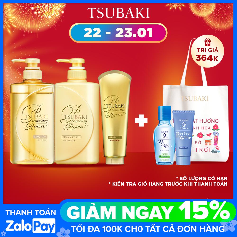 Bộ ba dầu gội – dầu xả – kem xả phục hồi ngăn rụng tóc Tsubaki Premium Repair