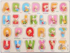 Bảng Núm Gỗ Xếp Hình Chủ Đề Chữ Cái A-Z Giúp Bé Học Tiếng Anh Gỗ Ván Dày Cao Cấp,Hình Mẫu Đẹp,Đầy Màu Sắc,An Toàn Cho Bé