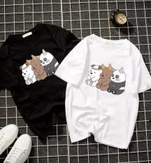 Áo thun nam form rộng Hàn Quốc in hình 3 Chú Gấu Ngồi độc đẹp, vải dày mịn mát
