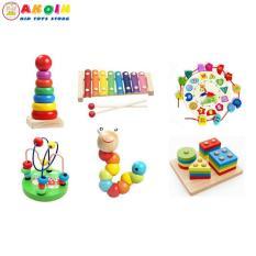 Combo sét 6 món đồ chơi giáo dục luồn hạt – sâu gỗ – đàn gỗ – cầu vồng – thả hình 4 trụ – đồng hồ xâu hạt – cho bé phát