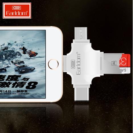 Thiết Bị Mở Rộng Dung Lượng 4in1 Earldom OT20 Cho iPhone, Samsung, Oppo