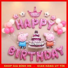 Bộ bóng HAPPY BIRTHDAY theo chủ đề Peppa Pig cho bé (Tặng bơm + băng keo + ruy băng)