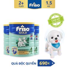 [Freeship toàn quốc] Bộ 3 lon sữa bột Friso Gold 4 1.5kg + Tặng Robot cún con trị giá 690K – HSD 10/2022