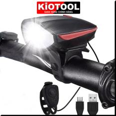 Đèn xe đạp thể thao KIOTOOL siêu sáng có còi pin sạc usb led T6 chống nước