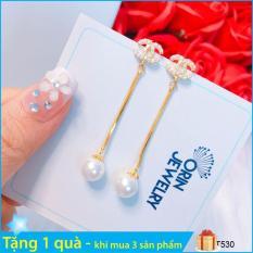 Bông tai thời trang nữ, bông tai dài chữ x thiết kế thời trang Orin T530