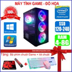 Máy tính PC Game LED CPU Dual Core E7/8xxx / Pentium G2010 / Ram 4GB-8GB / HDD 250GB – SSD 120GB / VGA 1GB – 2GB chơi PUBG mobile, PUBG lite, LOL, CF đột kích, Fifa3, Cs Go, AOE … + [QÙA TẶNG: Phím chuột Game, bàn di chuột] – LDV