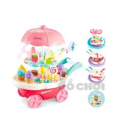 Đồ chơi xe đẩy cửa hàng bán kem có nhạc, đèn cho bé trai, bé gái – đồ chơi đồ hàng nhà bếp, nấu ăn – Đồ khuyến mãi giá tốt